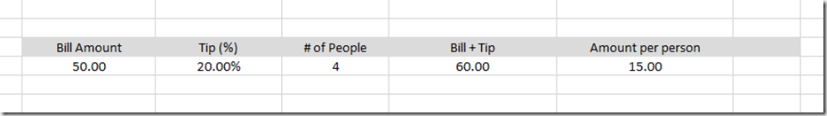 Excel Bill Calculator
